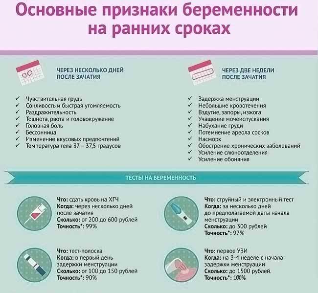 Основные признаки беременности на ранних сроках